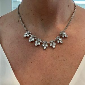 Silver crystal adjustable choker necklace
